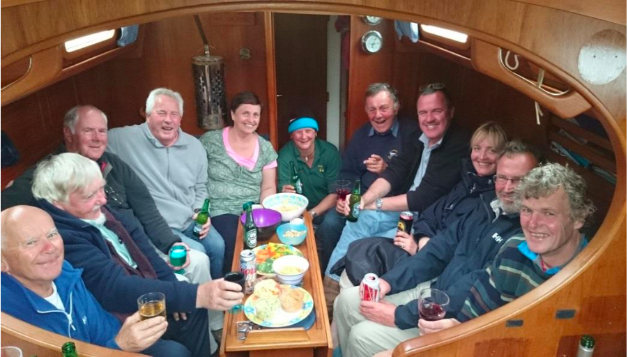 Partying in Shay's boat in Peel, IoM